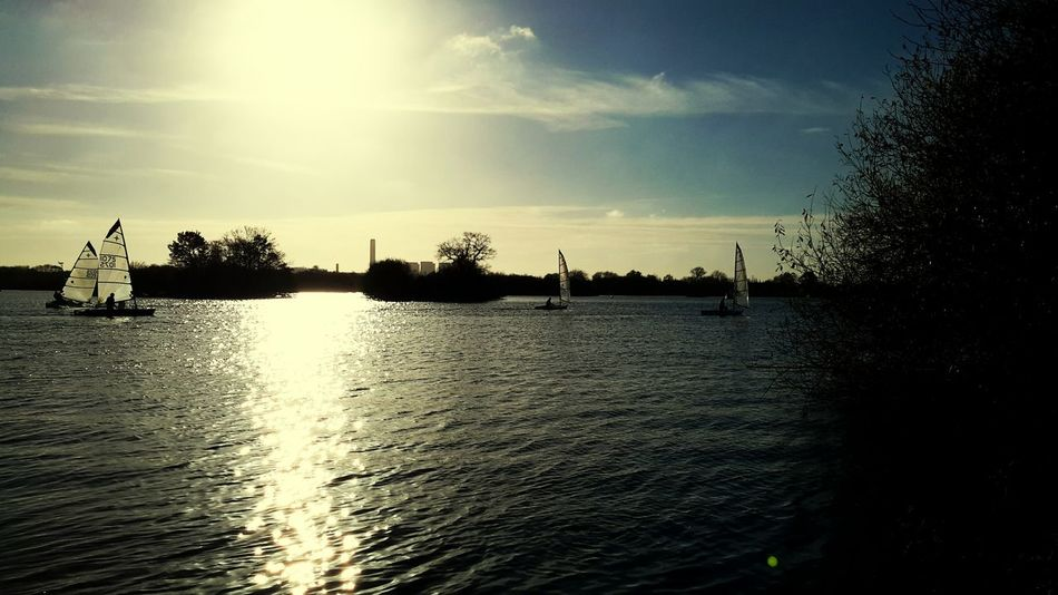 Water Sailing Boats Relection On Water Sunlight