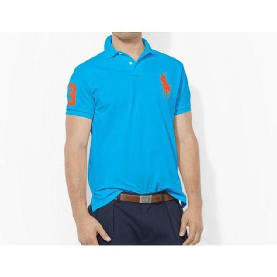 Футболка-поло голубого цвета с большим логотипом Polo Ralph Lauren. Состав: 100 % хлопок. Размеры: M, L, XL. Polo Ralph Lauren Ralph Lauren Men Shopping