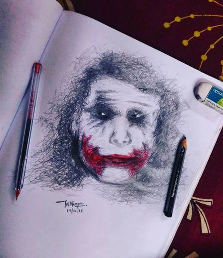 Heath ledger-the joker Art Artist Artistic Joker Thedarknight Batman Indian IndianArtist Like Cool Drawing Hobby Pen Pencil Red Ink Photooftheday Graphic Instagood Portrait