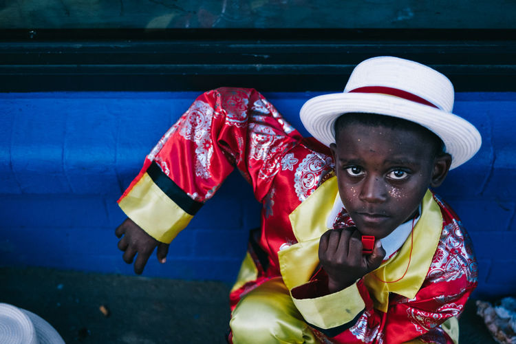 You're up kid Carnival Close-up Colourful Costume Day Front View Headshot Little Boy One Person Outdoors Portrait Real People Street Portrait Streetphotography Young Adult The Street Photographer - 2017 EyeEm Awards