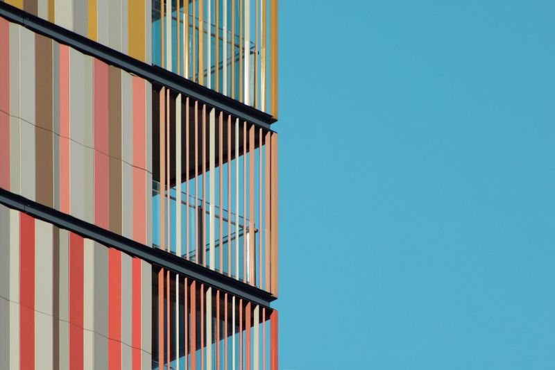 Backgrounds Lines And Shapes Geometric Shape Urban Geometry Geometric Shape Architecture Built Structure Copy Space Clear Sky Blue Sky No People Low Angle View Building Exterior Wall - Building Feature Day Building Nature Pattern Outdoors Sunlight Window Close-up Wall Directly Below The Architect - 2018 EyeEm Awards The Creative - 2018 EyeEm Awards #urbanana: The Urban Playground 17.62°