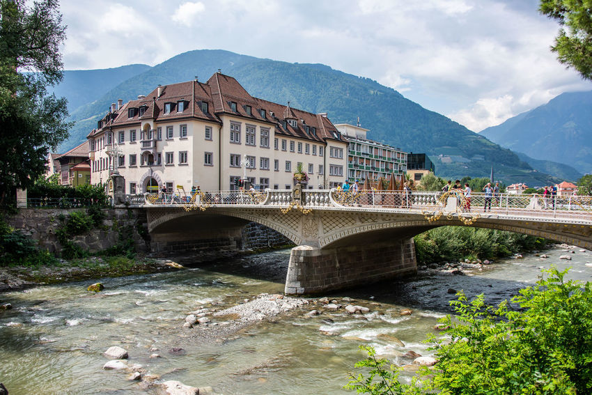Alto Adige Arch Arch Bridge Architecture Bridge Bridge - Man Made Structure Building Building Exterior Built Structure Cloud - Sky Connection Italy Merano Mountain Mountain Range Nature Outdoors Plant River Sky South Tyrol Transportation Travel Destinations Tree Water