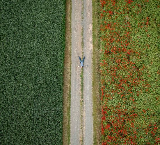 Drone View Of Man Lying On Footpath Amidst Field