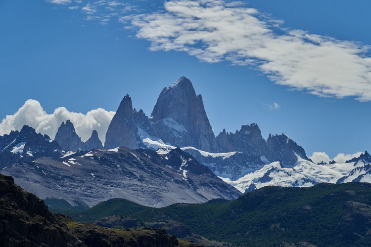 Mount fitzroy is a high and characteristic mountain peak in southern argentina, patagonia