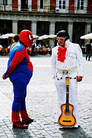 Madrid Madrid Spain Portrait Streetphotography Elvis Presley Spiderman Guitar Peoplephotography