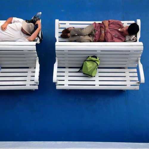 Tourist nap Tourism Tourist Nap Boat Blue White Travel Travelling Traveller Bench Benches Travellers Backpack