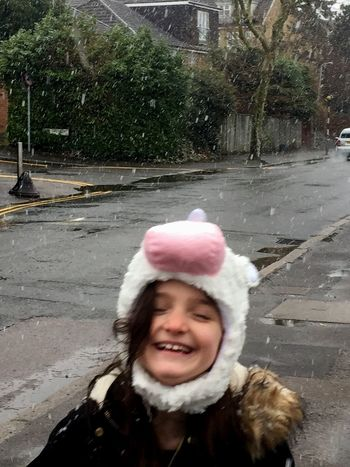 Happy it's snowing Having Fun Walking In The Snow Light Snow Unicorn Snowing In London London It's Snowing ! Snowing Snow ❄ Snow EyeEmNewHere Smiling Real People One Person Front View Winter Happiness Leisure Activity Snow Outdoors Warm Clothing Cold Temperature Childhood Looking At Camera