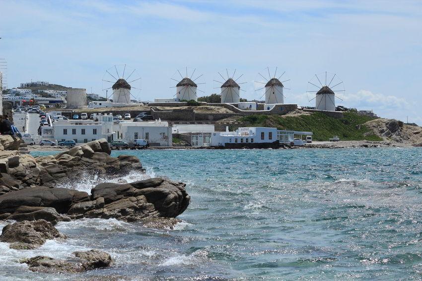 GREECE ♥♥ Mykonos Island Mykonos,Greece Windmills Architecture Beach Beauty In Nature Built Structure Cyclades Day Greece Island Mykonos Mykonosisland Mykonostown Nature No People Outdoors Sea Sky Water Windmill