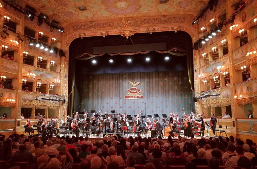 Venezia, Gran Teatro La Fenice Large Group Of People Flag Crowd Stage - Performance Space Indoors  People Audience Ceremony Politics And Government Adult Adults Only