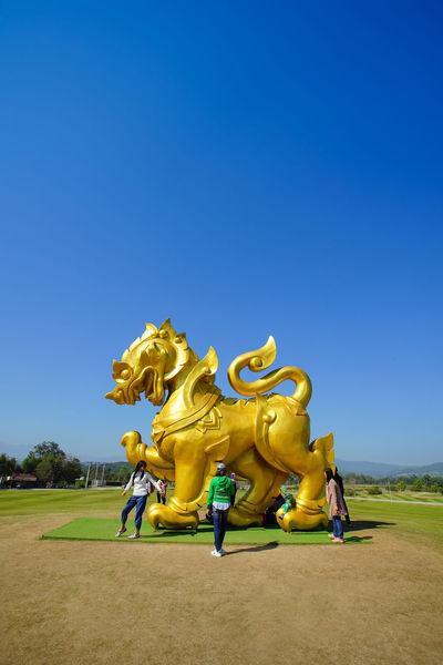 Singha figure in Singha park, Chiang Rai. Chiang Rai, Thailand Famous Blue Clear Sky Landmark Singha Singhapark Sky Travel Destinations