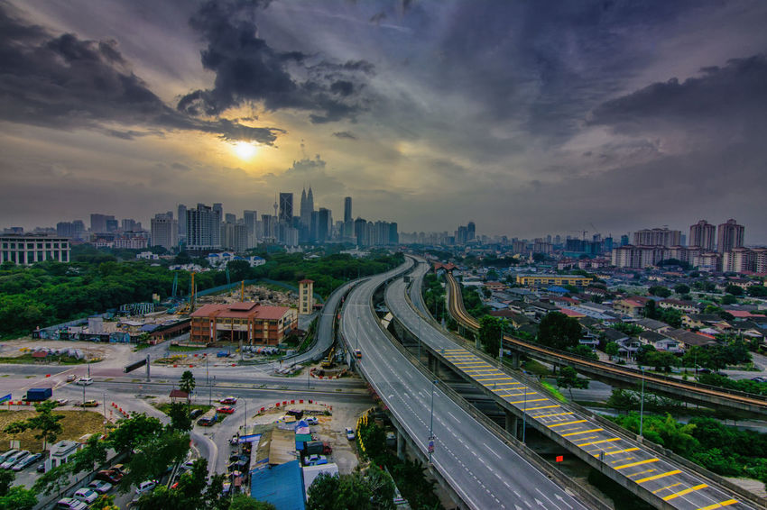 Atmospheric Mood City City Cityscape Cityscapes Clouds And Sky Cloudscape Destination Dramatic Sky Fredpius Highway Kuala Lumpur Leading Learn & Shoot: Leading Lines Moody Sky No Filter No People Nofilter Outdoors Overcast Sky Storm Cloud Sunset Sunset_collection Landscapes With WhiteWall