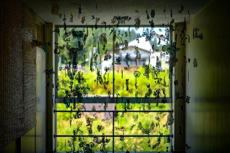 切り絵の影。 No People Architecture Wall - Building Feature Window Graffiti Indoors  Text Day Communication Built Structure Pattern Plant Curtain Script Western Script Non-western Script House