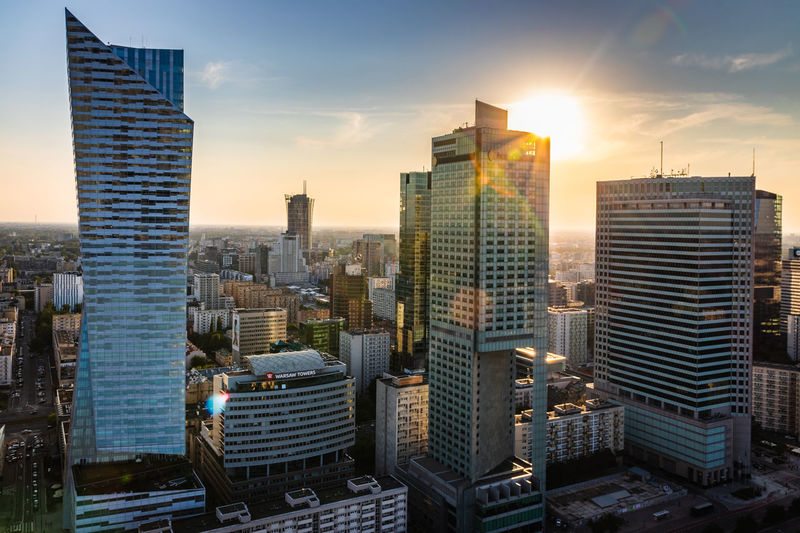 Warsaw Downtown Warsaw Architecture Building Exterior City Cityscape Modern Office Office Building Exterior Sky Sunset Urban Skyline
