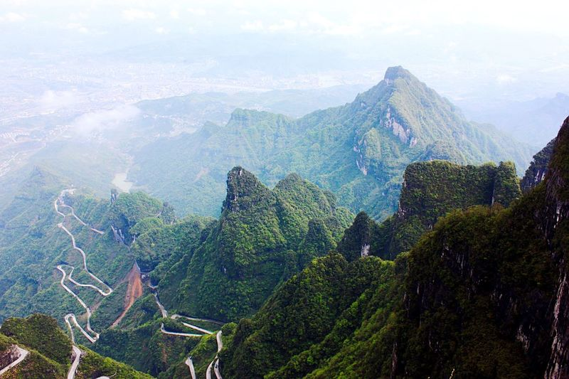 Scenic view of green mountains at zhangjiajie national forest park