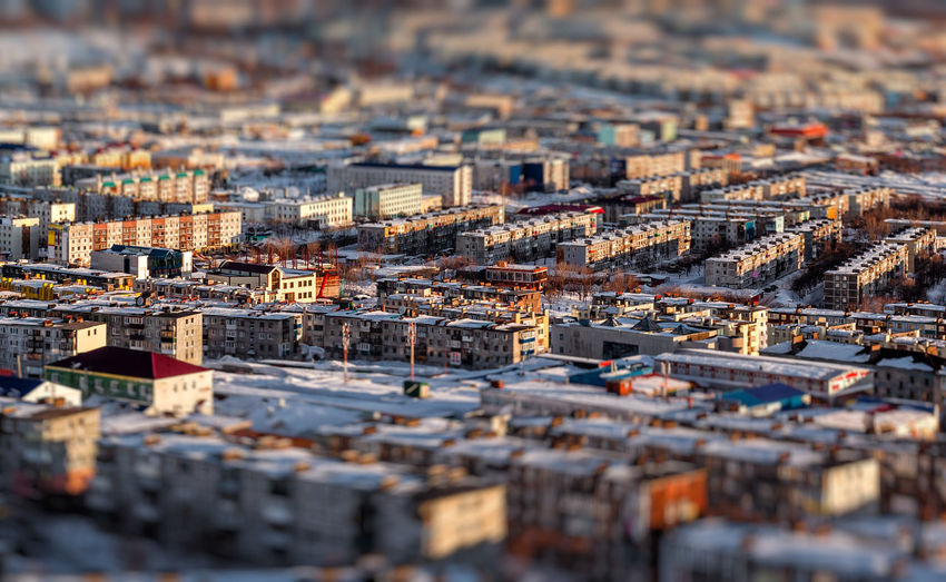 Tilt-shift image of cityscape