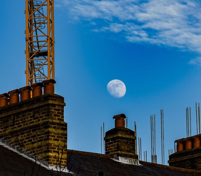 Good Night Moon Architecture Building Exterior Built Structure Sky Low Angle View Outdoors No People Day Antenna - Aerial Chimney Crane Moon Rooftops Good Night Moon Clouds London Postcode Postcards
