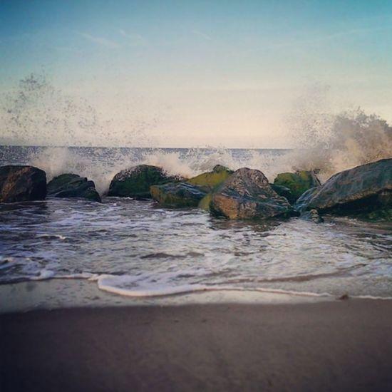 Nofilters Caister Caisteronsea Seaside sand rocks tide sky blue bluesky beach htcone htc1 springevening spring waves splash spray instagram