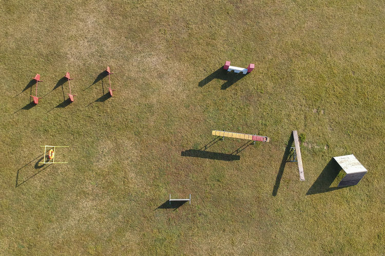 High angle view of flags on field