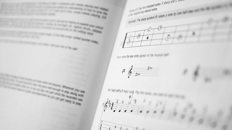 Music Study Book Blackandwhite Book Close-up Education G Clef Gclef Indoors  Learning Music Music Book Music Education No People Note Paper Score Study Thai Ukulele