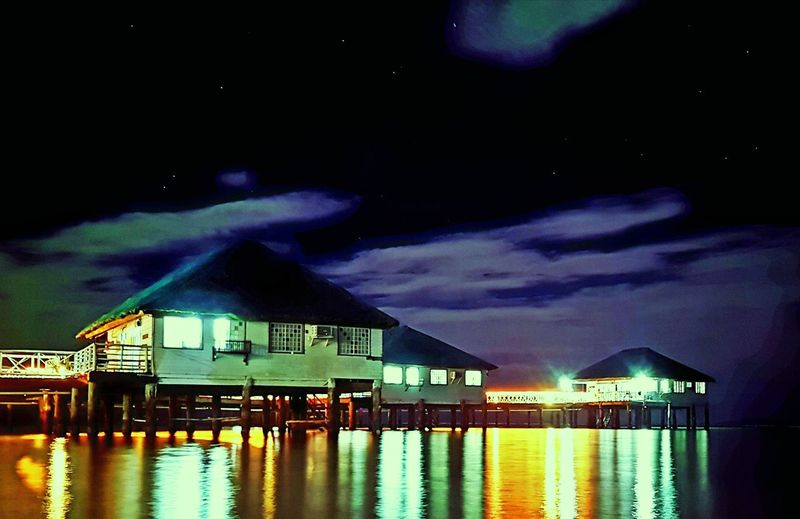 Floating Cottages of Stilts Calatagan Resort in Batangas,Philippines Night Architecture Illuminated Built Structure Water Building Exterior Sky Reflection No People Cloud - Sky Outdoors Sea Nature Star - Space Beauty In Nature Lightning Neon Astronomy Stilts Longexposurephotography Floating House Samsung Galaxy S8+ Promode Beach