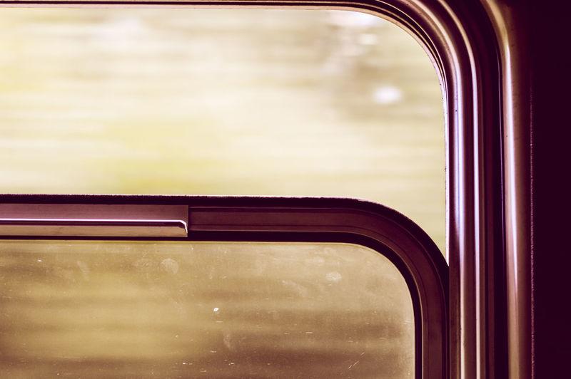 Close-up of train window