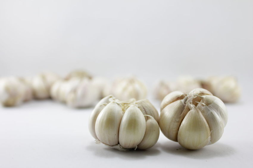 Garlic on a white background Garlic On A White Background Close-up Day Focus On Foreground Food Food And Drink Freshness Garlic Garlic Bulb Healthy Eating Indoors  No People Still Life Studio Shot White Background