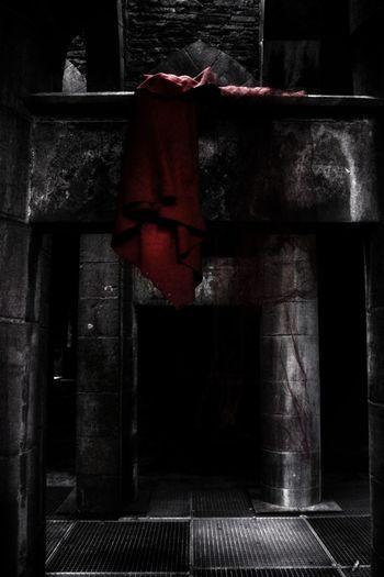 EyeEm Masterclass Eyeem Market Popular Photos Hanging Darkart Lost History Dress Red Dress Clothing Full Frame Check This Out Popular EyeEm Best Shots EyeEm Selects EyeEm Gallery Dark Dark Photography Grey Pillar Night No People Photooftheday Visual Creativity Red Spooky Horror Ghost Paranormal Basement