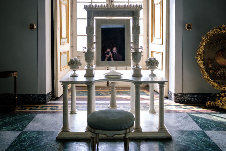 Reggia di Caserta - 2018 23mmf2 FUJIFILM X-T2 Altar Architecture Belief Building Built Structure Chair Domestic Room Fujifilm Fujifilm_xseries Fujixseries Furniture Human Representation Illuminated Indoors  Lighting Equipment No People Palace Place Of Worship Reggia Di Caserta Religion Representation Sculpture Seat Spirituality Statue Table My Best Photo Humanity Meets Technology