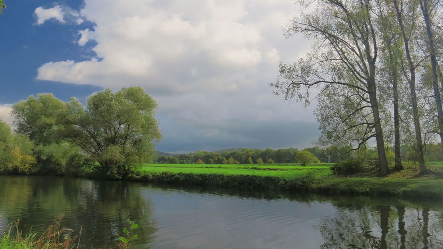 Scenic view of river at field against sky
