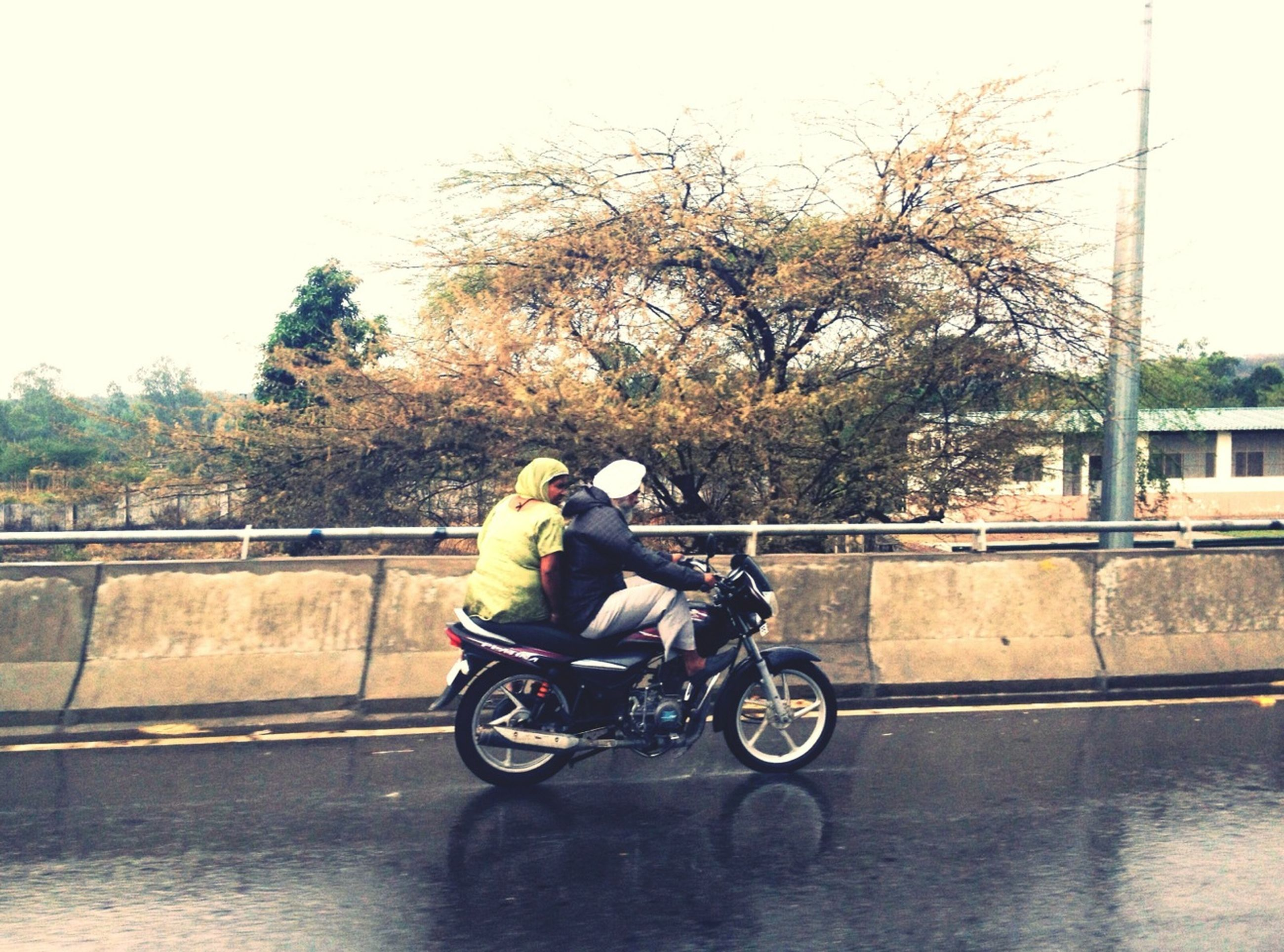 transportation, bicycle, land vehicle, mode of transport, lifestyles, riding, men, leisure activity, full length, tree, casual clothing, cycling, street, rear view, stationary, parked, motorcycle