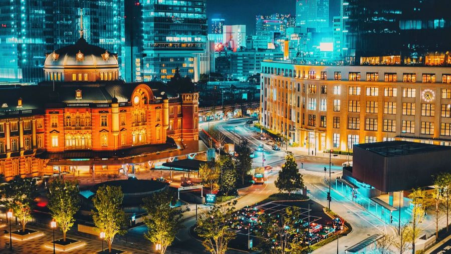 Tokyo Tokyostation Building Exterior Illuminated Architecture City Built Structure Night Building Cityscape City Life City Street Neon EyeEmNewHere