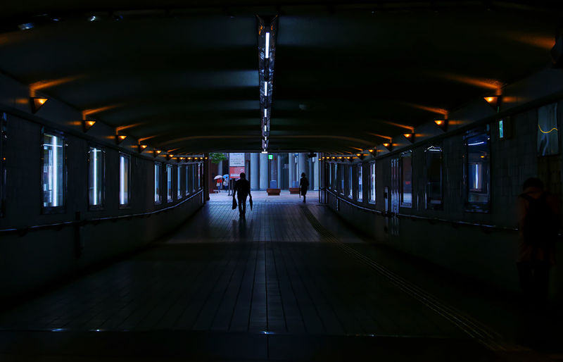 People walking in the underpass