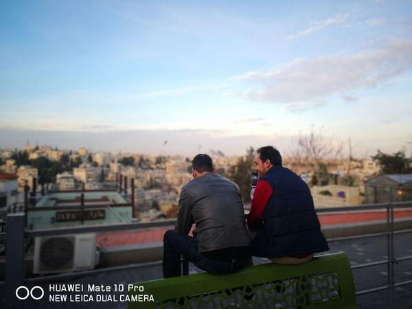 Friendship Blurry Nofilternoedit Huaweiphotography Huawei Mate 10 Pro Amman Jordan Rainbow Street Only Men Relaxation Togetherness Adult Men Friendship City Cityscape Outdoors