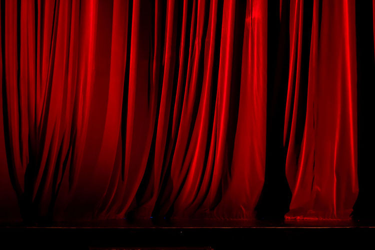 Backgrounds Curtain Fabric Full Frame Hanging No People Red Theater Vibrant Color