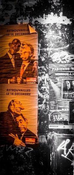 Les Guignols Les Guignols De L'info Pub Streetphotography Street Canal + Chirac Sarkozy Obama Trump Blackandwhite Noir Et Blanc Black & White Colorsplash Eyeem Colorsplash Urban