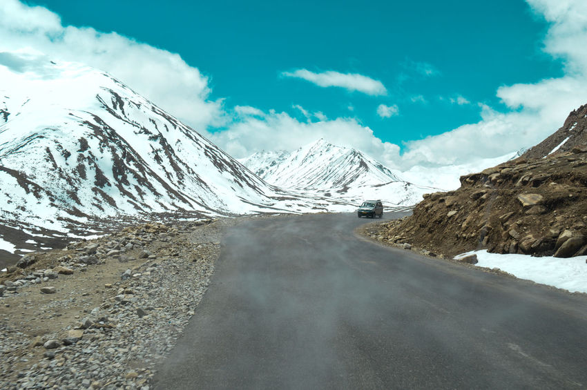 Himilayas India Ladakh Beauty In Nature Blue Cloud - Sky Cold Temperature Day Landscape Mountain Mountain Road Nature No People Outdoors Road Scenics Sky Snow The Way Forward Tranquil Scene Tranquility Transportation Winding Road Winter