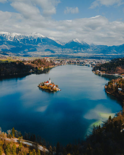 Nature No People Bled Bled Lake Slovenia Slovenia Drone  Dronephotography Drone Photography Droneshot Drones Birdview Lake View Island Life Island View  Church Architecture My Best Photo