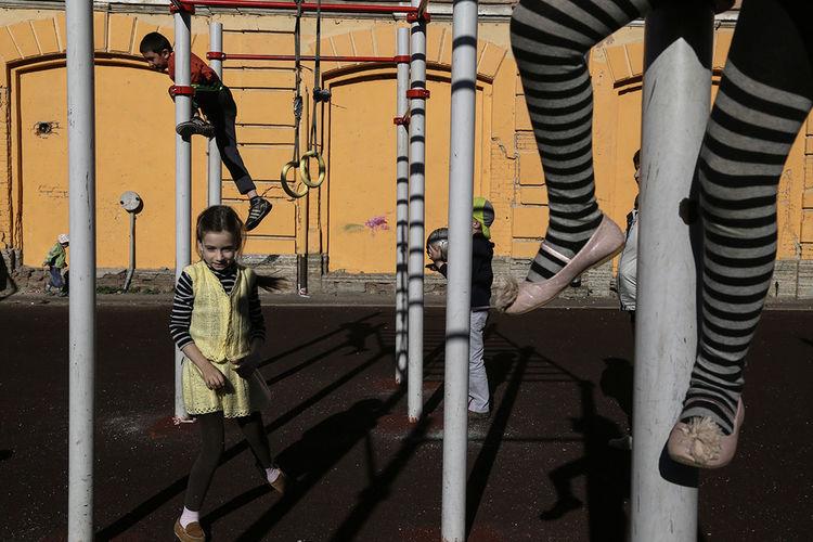 Children standing on walkway