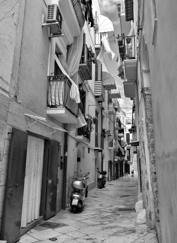 Balcony Black And White Street Photography Blackandwhite Building City Exploring Mediterranean  Narrow Scooter Street Traveling Walking Around