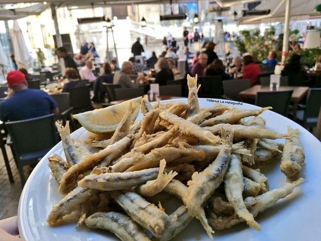 Peiscaito Fhish Tapeo Malaga Food Food And Drink Focus On Foreground Freshness Real People Retail  Street Food Market Large Group Of People Ready-to-eat Men Fast Food Outdoors Day People