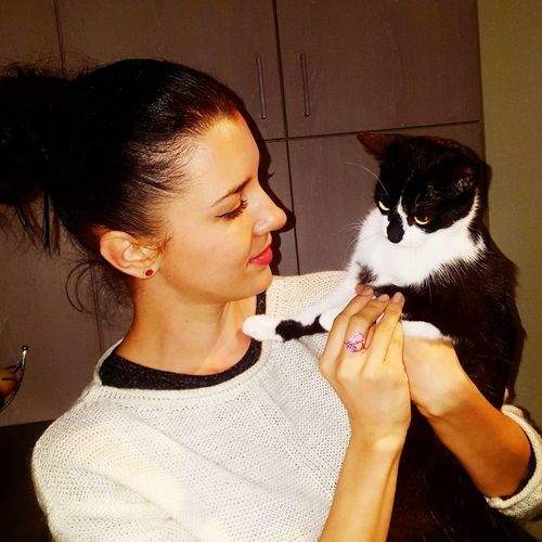 new friend since today Pets Young Women Friendship Bonding Love Mid Adult Cat Domestic Cat At Home Whisker Feline Kitten Pampered Pets International Women's Day 2019