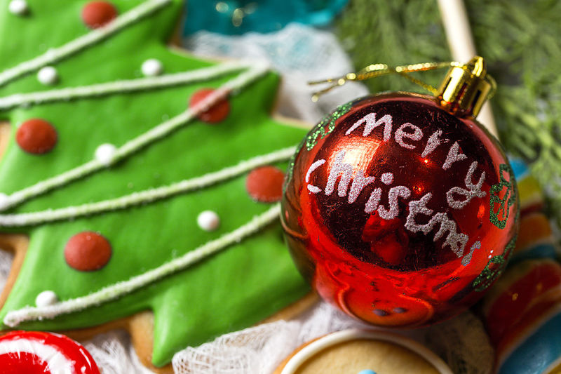 Close-up of christmas ornaments on tree