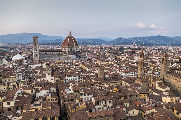Beautiful cityscape of florence at the sunset