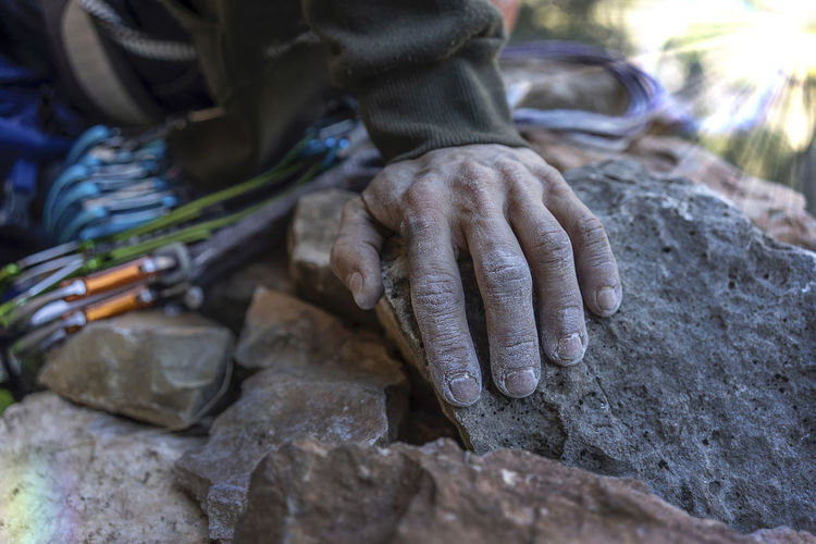 Hand Human Hand Human Body Part Rock Rock - Object Outdoors Body Part Nature Finger Close-up Selective Focus Climbing Climb Climbers Magnesium Lights Reflection Day Men Lifestyles