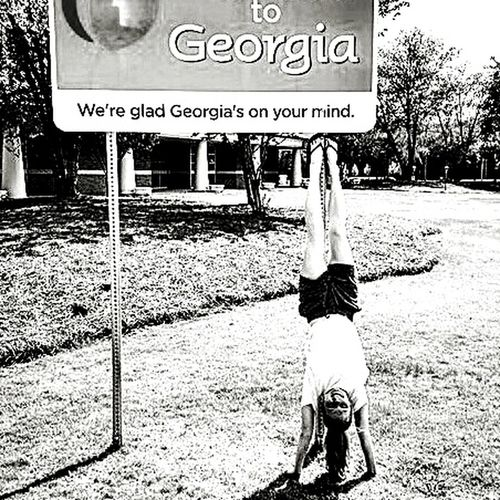 People And Places Black & White Handstand ♥  Georgia Outdoors