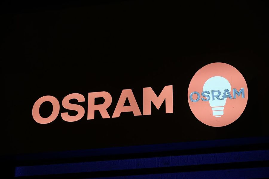 Rome, Italy - August 16, 2017: Osram logo. OSRAM Licht AG is a multinational lighting manufacturer headquartered in Munich, Germany Company Close-up Communication Editorial  Electricity  Illuminated Light Bulb Lighting Manufacturer Neon No People Osram Text