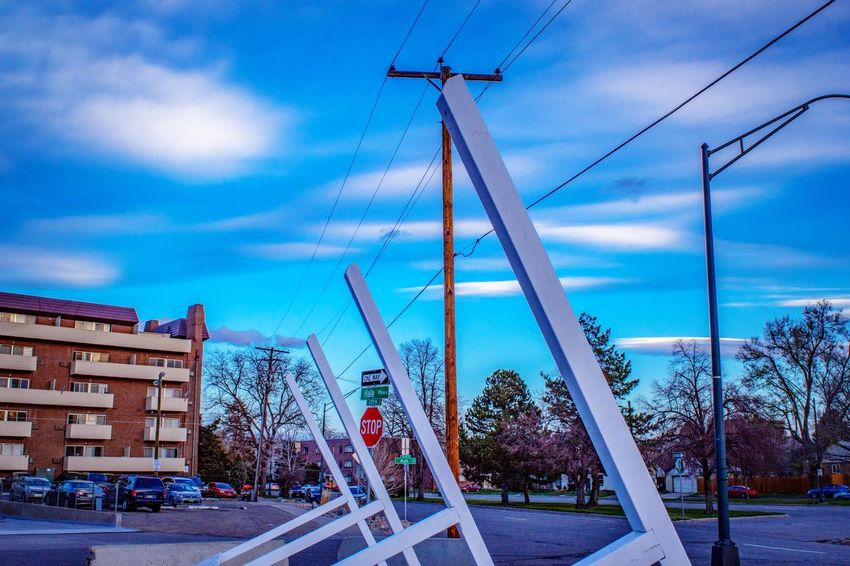 Neighborhood oldie. Before building construction. Modern Architecture Detail Sky In The Morning Blue Morning Sky City Living Residential Buildings Morning Sunlight Sky In The Morning Sky Cloud - Sky Architecture Built Structure Building Exterior Nature Day Street City No People