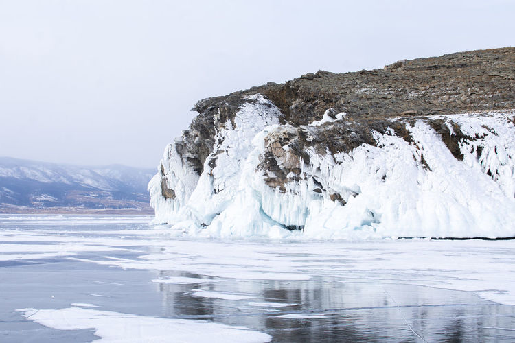 Russia Bikal Cold Temperature Water Ice Glacier Mountain Landscape Environment Sky Nature Scenics - Nature Tranquil Scene Tranquility Beauty In Nature Frozen Sea Winter Waterfront Clear Sky No People Cold Melting Iceberg Mountain Peak
