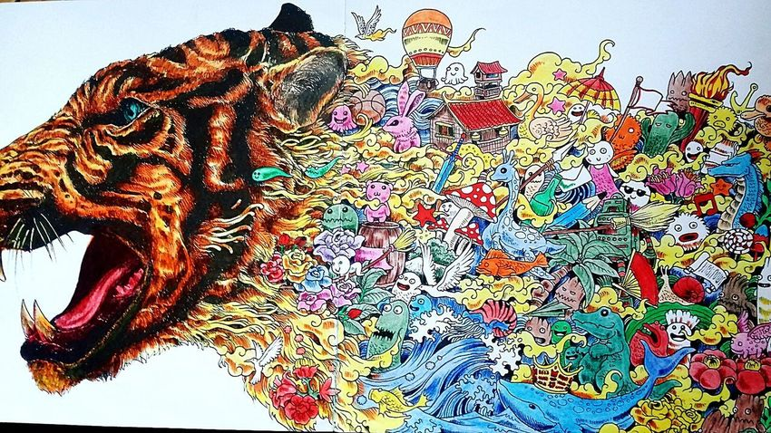 Multi Colored Animal Themes Coloringbook Art Tiger Colourful Red And Orange