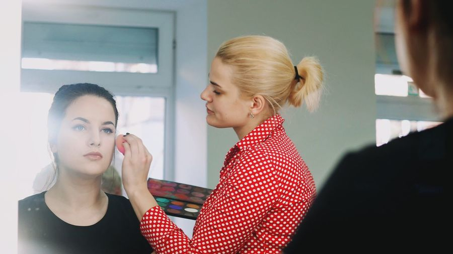 Close-Up Of Woman Having Make-Up Done